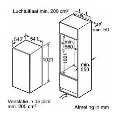 KI20RNFF2 SIEMENS Inbouw koelkast rond 102 cm