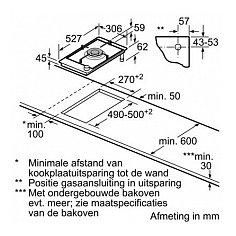 PRA3A6D70N BOSCH Gas op glaskookplaat (domino)