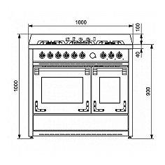 X10FF6CR STEEL Fornuis 100 cm