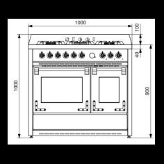 X10FF6SA STEEL Fornuis 100 cm