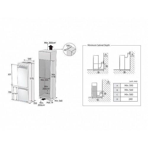 BRB260176WWEF SAMSUNG Inbouw koelkast vanaf 178 cm