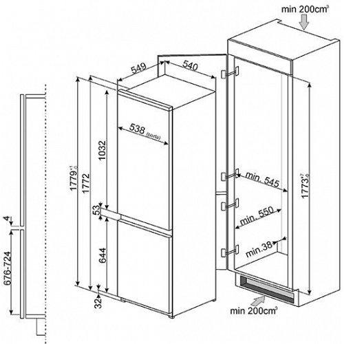 C3170P1 SMEG Inbouw koelkasten vanaf 178 cm