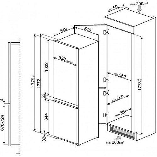 C7280FP1 SMEG Inbouw koelkasten vanaf 178 cm