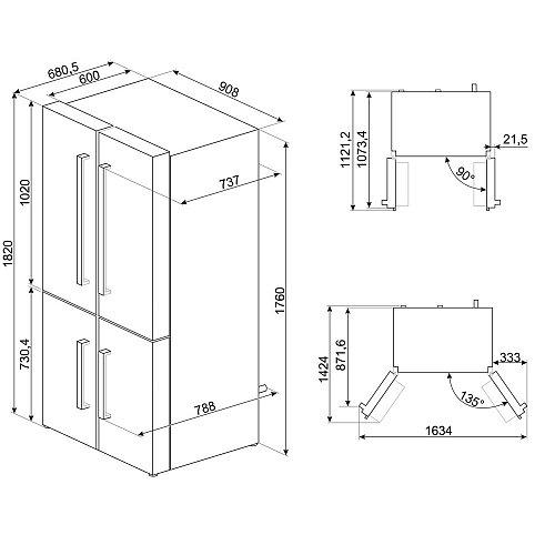 FQ60XP1 SMEG Amerikaanse koelkast