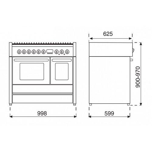 G10FFFD4TBA STEEL Fornuis 100 cm