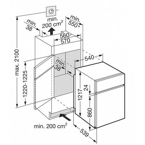 ICTS223120 LIEBHERR Inbouw koelkasten rond 122 cm