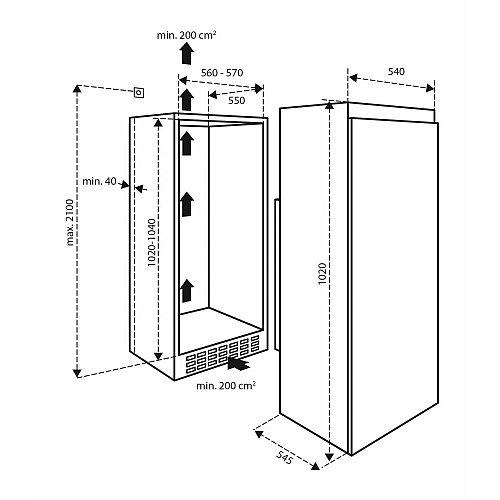 IKV1021S INVENTUM Inbouw koelkast rond 102 cm