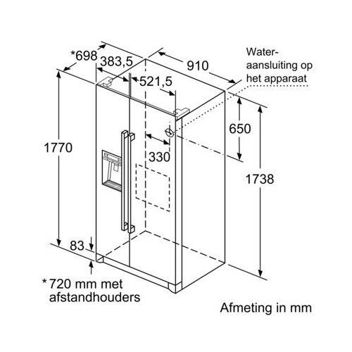 KAD90VI30 BOSCH Side By Side koelkast