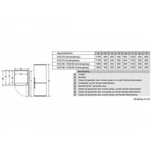 KGV33VL31 BOSCH Vrijstaande koelkast