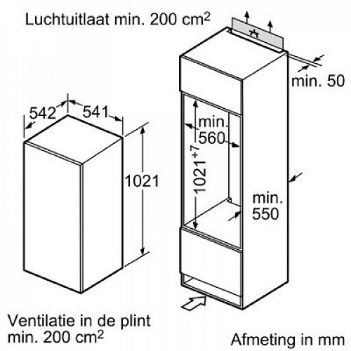 KI20RV60 SIEMENS Inbouw koelkasten rond 102 cm
