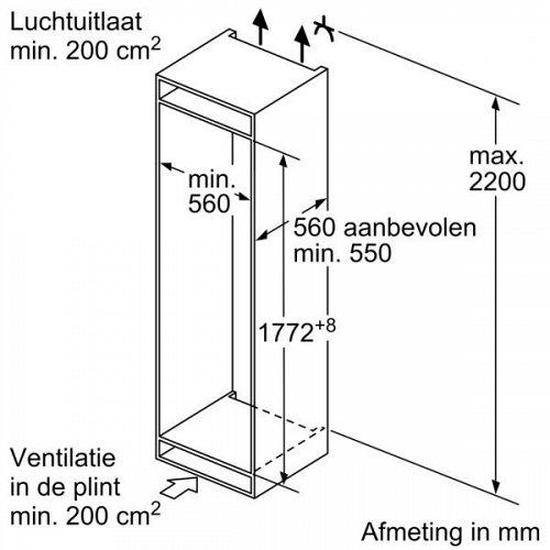 KI87V5SF0 SIEMENS Inbouw koelkast vanaf 178 cm