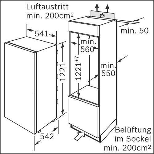 KIR24V60 BOSCH Inbouw koelkasten rond 122 cm