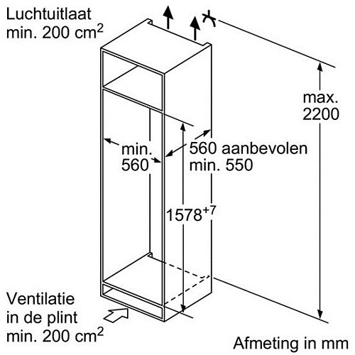 KIS77AF30 BOSCH Inbouw koelkasten rond 158 cm