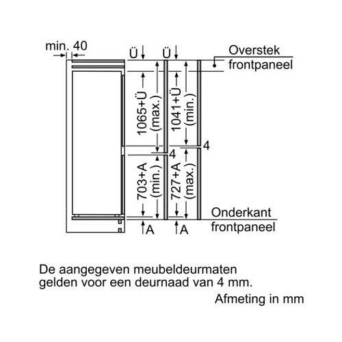 KIS86HD40 BOSCH Inbouw koelkast vanaf 178 cm