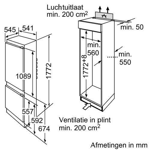 KIV38X20 BOSCH Inbouw koelkasten vanaf 178 cm