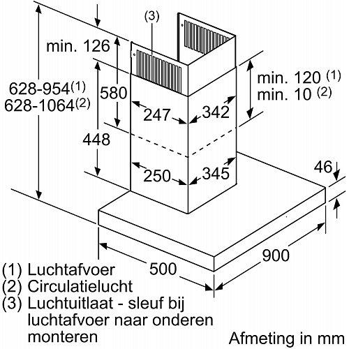 LC97BCP50 SIEMENS Wandschouw afzuigkap