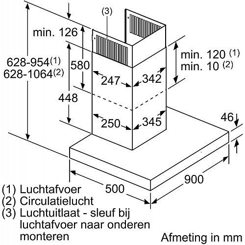 LC98BIT50 SIEMENS Wandschouw afzuigkap