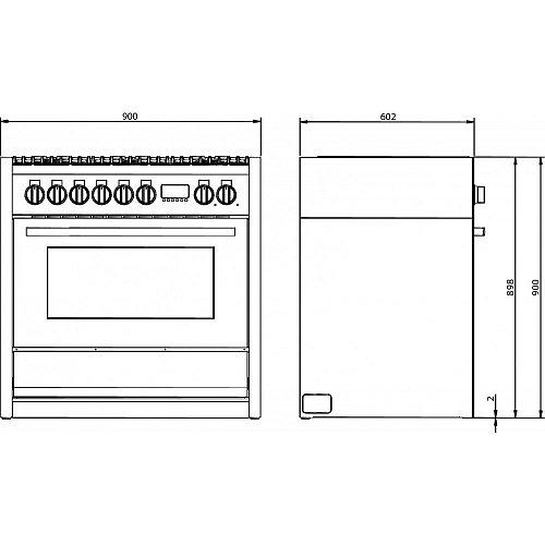 LMRC09S4TAN LANCELLOTTI Fornuis 90 cm