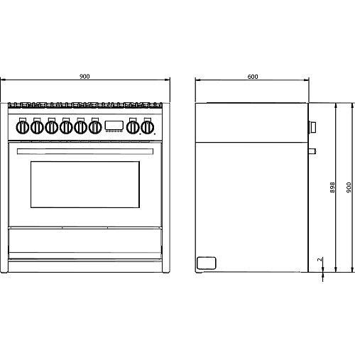 LMRC09S6WAN LANCELLOTTI Fornuis 90 cm
