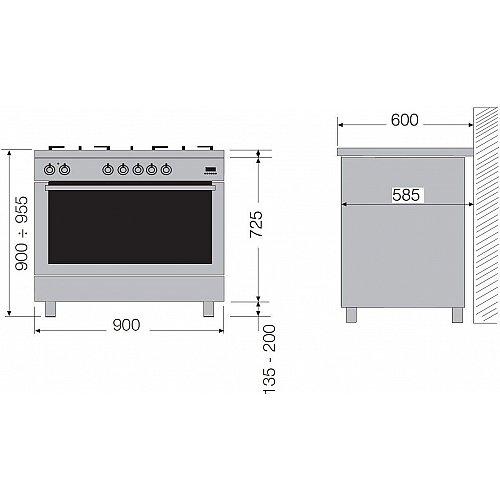 MXD19050ZW LOFRA Fornuis 90 cm