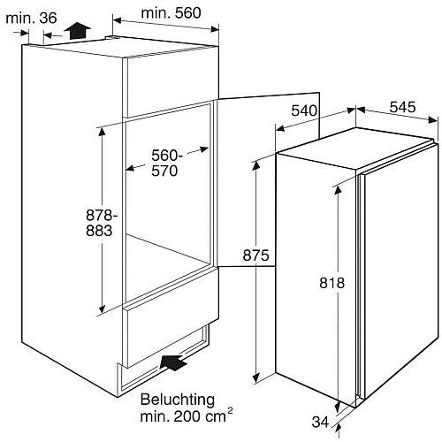 PVS24088L PELGRIM Inbouw vriezer