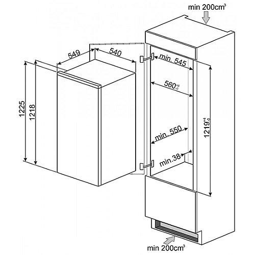 S7212LS2P1 SMEG Inbouw koelkasten rond 122 cm