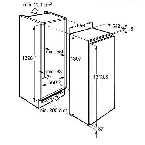 SKE81426ZC AEG Inbouw koelkast rond 140 cm