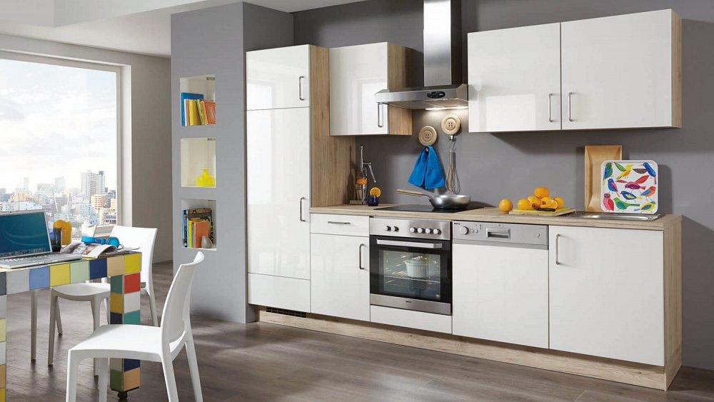 Rechte keuken in houtdecor met hoogglans witte fronten   keukens ...