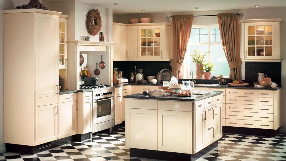 Witte Glans Keukens : Landelijke hoekkeuken met eiland. keukens op ...