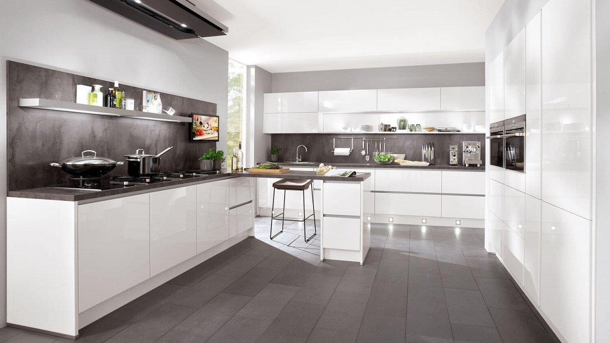 Strakke Witte Keuken : Strakke greeploze keuken in hoogglans wit keukens op maat