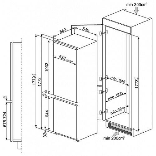 C7280FP SMEG Koelkasten vanaf 178 cm