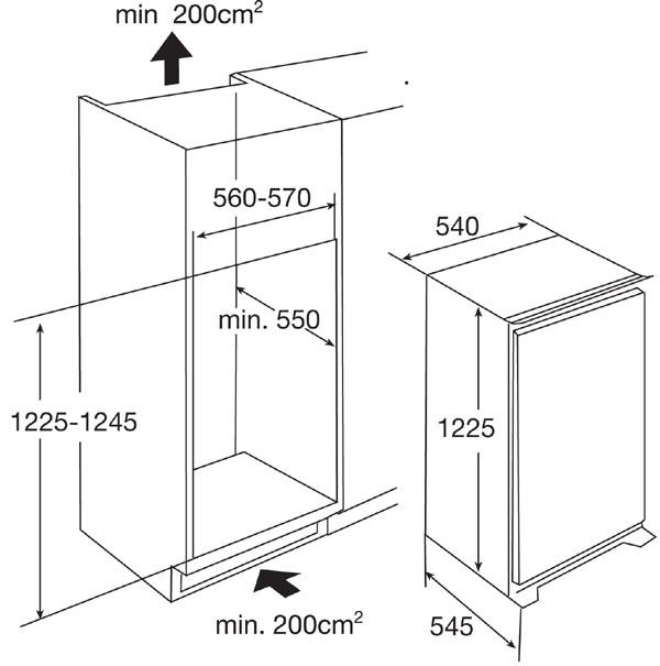 standaard hoogte koelkast