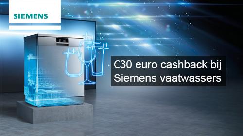 €30 euro cashback bij Siemens vaatwasser!