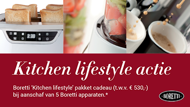 Gratis Kitchen Lifestyle pakket (tw.v.€529,85) bij 5 Boretti apparaten