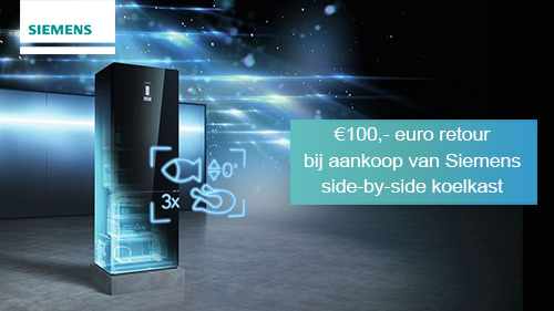 €100 retour bij aankoop van een geselecteerde Siemens side-by-side koelkast