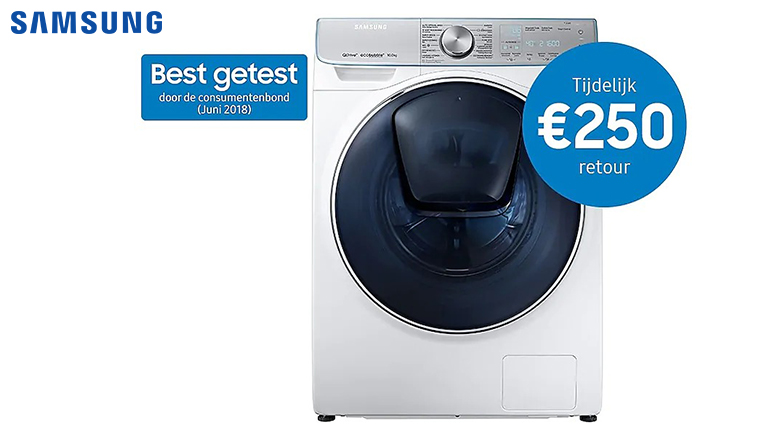 €250,- cashback bij geselecteerde Samsung QuickDrive wasmachine