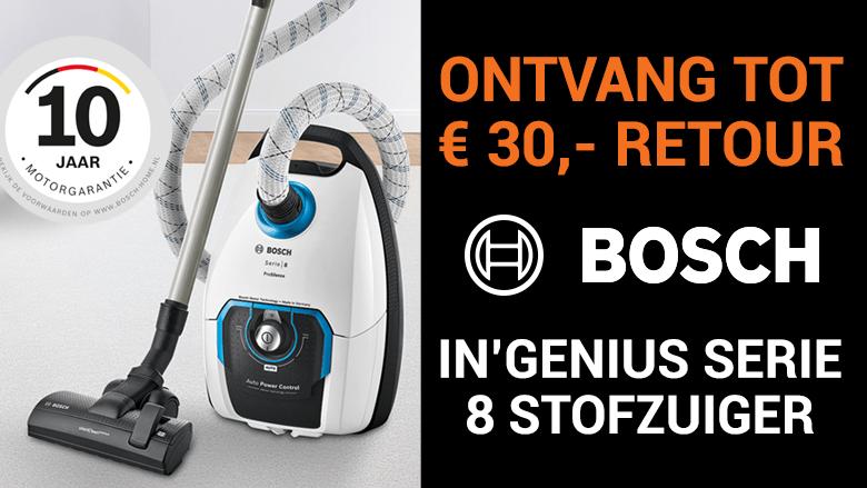 Ontvang nu 30 euro cashback op geselecteerde Bosch In'genius stofzuigers!