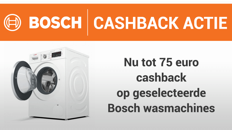 Tot 75 euro cashback op geselecteerde Bosch wasmachines