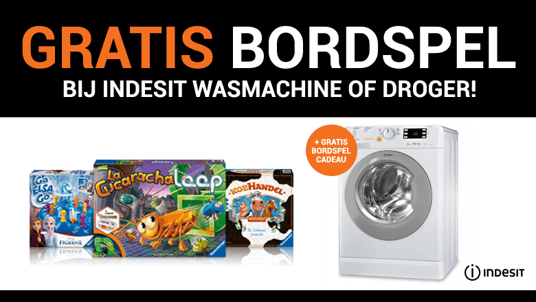Gratis bordspel bij Indesit wasmachine of droger!