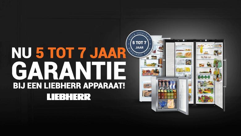 5 of 7 jaar garantie bij Liebherr koelkasten en vriezers