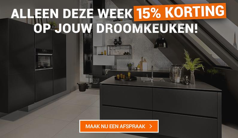 Alleen deze week: 15% extra korting bij aankoop van jouw droomkeuken!
